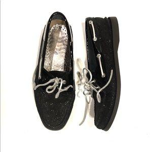 Sperry black glitter sliders